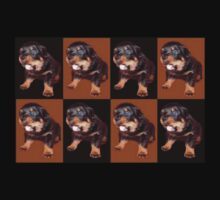 Rottweiler Puppy Isolated On Black and Tan Tile Pattern Kids Tee
