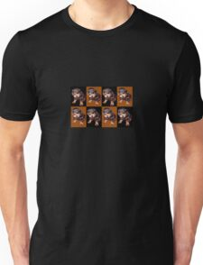 Rottweiler Puppy Isolated On Black and Tan Tile Pattern Unisex T-Shirt