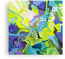 Residual Glow, Intermittent Noise - Abstract Acrylic Canvas Painting Canvas Print