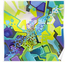 Residual Glow, Intermittent Noise - Abstract Acrylic Canvas Painting Poster