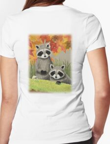 Fall Raccoon Womens Fitted T-Shirt
