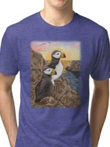 Puffins on Sunset Cliff Tri-blend T-Shirt
