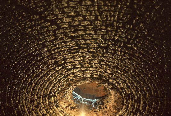 Ceiling of dungeon. Water from courtyard dripping down 198402220045 by Fred Mitchell