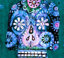 Blue Sugar Skull Pop Art - DAY OF THE DEAD by dayofthedeadart