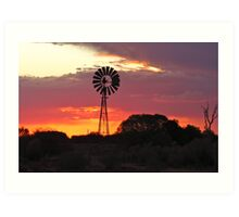 Kingoonya Windmill sunset Art Print