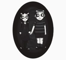 Dark little Wednesday and Pugsley Addams by Ravenous-Decay