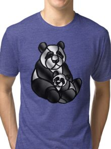 Mom and Baby Panda Bear Tri-blend T-Shirt