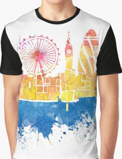 London skyline map city London Eye Graphic T-Shirt