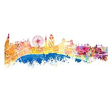 London skyline map city London Eye Photographic Print