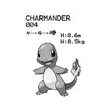 B&W Charmander iPhone / iPod Case by Aaron Campbell