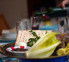 Traditional sedder table set for a Jewish Festive meal on Passover  by PhotoStock-Isra