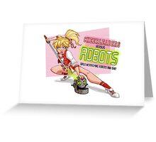 Cheerleaders versus Robots Greeting Card