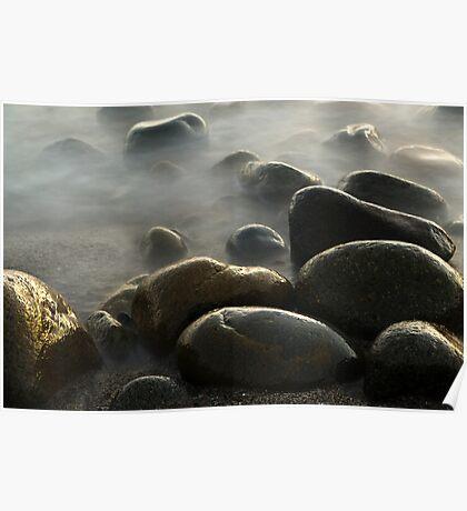 Foggy Rocks Poster