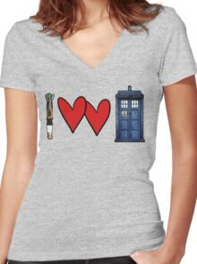 I love Doctor Who Women's Fitted V-Neck T-Shirt