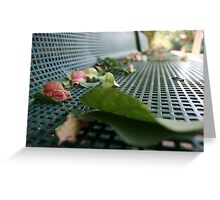 Leaves and Flowers are Falling on a Park Bench in Autumn  Greeting Card