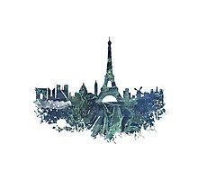 Paris skyline blue street Photographic Print