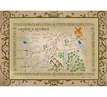 Hobbit map of middle earth. Photographic Print