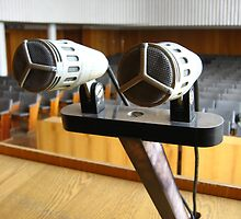 Pair of microphones in the big hall by alexmak