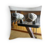 Pair of microphones in the big hall Throw Pillow