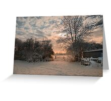 Sunsetting behind a gate in the country Greeting Card