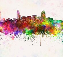 Raleigh skyline in watercolor background by paulrommer
