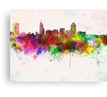 Raleigh skyline in watercolor background Canvas Print