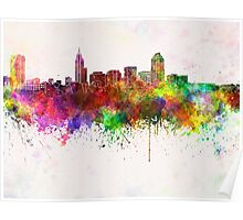 Raleigh skyline in watercolor background Poster