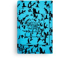 Set of silhouettes of birds on a blue background Canvas Print