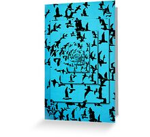 Set of silhouettes of birds on a blue background Greeting Card