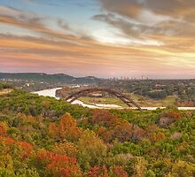 Pennybacker Bridge Autumn Colors - Austin, Texas by RobGreebonPhoto