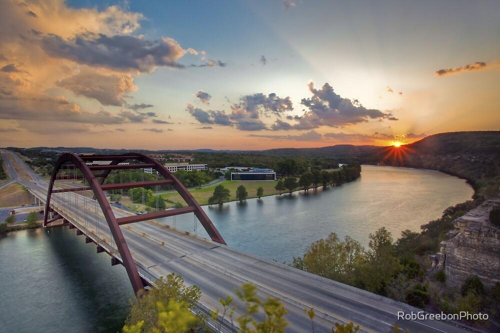 Pennybacker Bridge Summer at Sunset - Austin, Texas by RobGreebonPhoto