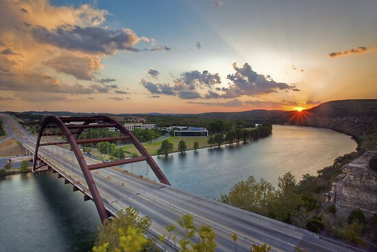 Pennybacker Bridge Summer at Sunset - Austin, Texas by RobGreebonPhoto