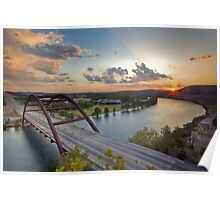 Pennybacker Bridge Summer at Sunset - Austin, Texas Poster