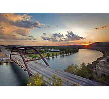 Pennybacker Bridge Summer at Sunset - Austin, Texas Photographic Print