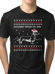 Dachshund Through The Snow, Ugly Christmas Sweater Tri-blend T-Shirt