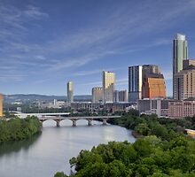 The Austin Skyline under a Blue Morning Sky by RobGreebonPhoto