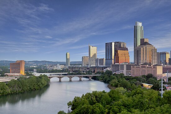 The Austin Skyline under a Blue Morning Sky by RobGreebonPhoto