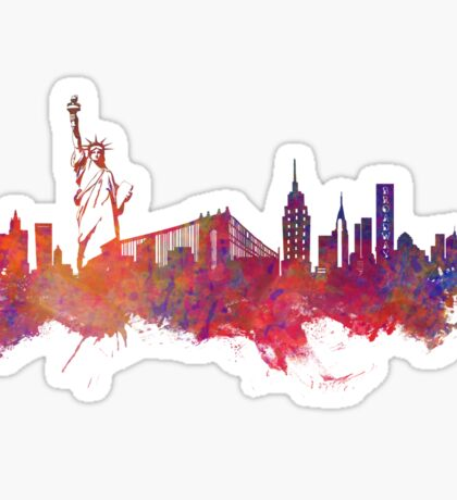 New York city Skyline red Sticker