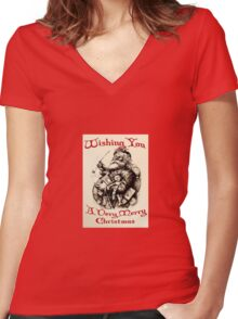 Vintage Santa Wishing You A Very Merry Christmas Women's Fitted V-Neck T-Shirt