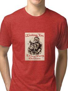Vintage Santa Wishing You A Very Merry Christmas Tri-blend T-Shirt