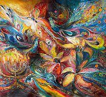 The lilies and Menorah by Elena Kotliarker