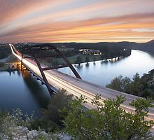 Pennybacker Bridge Sunset near Austin, Texas 2 by RobGreebonPhoto