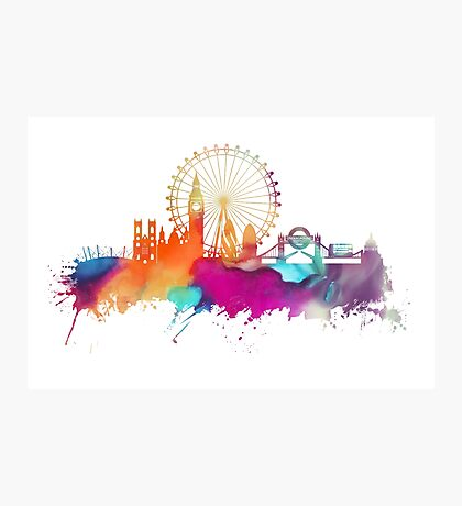 London skyline watercolor Photographic Print
