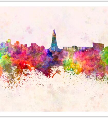 Reykjavik skyline in watercolor background Sticker