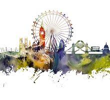 London skyline colored London Eye by JBJart