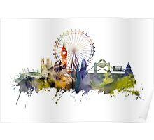 London skyline colored London Eye Poster