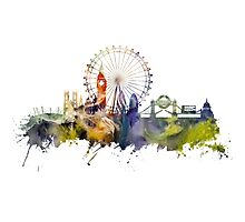 London skyline colored London Eye Photographic Print
