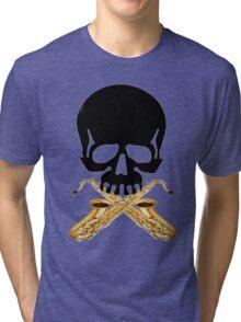 Skull with Saxophone Crossbones Tri-blend T-Shirt