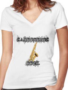 Saxophones Rock Women's Fitted V-Neck T-Shirt