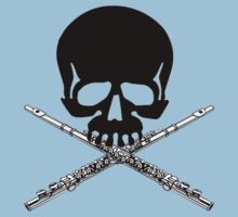 Skull with Flute Crossbones by shakeoutfitters